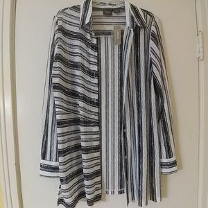 NWT CHICO'S $109 Striped Shirt Jacket Top 1 8-10